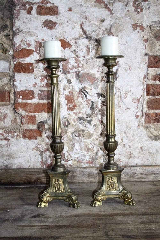 Pair of ecclesiastical brass pricket sticks