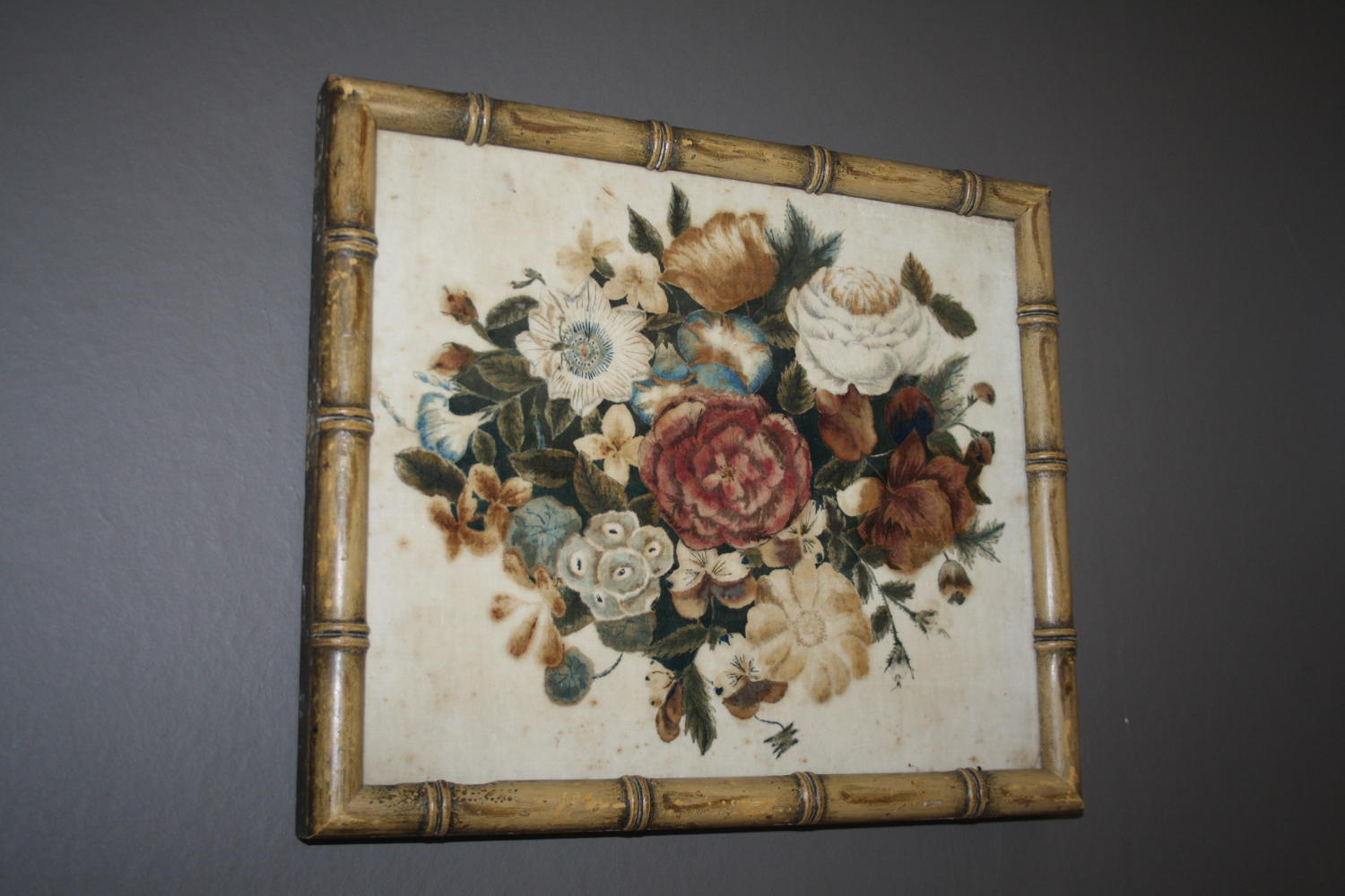 Late 19th century faux bamboo framed velvet picture