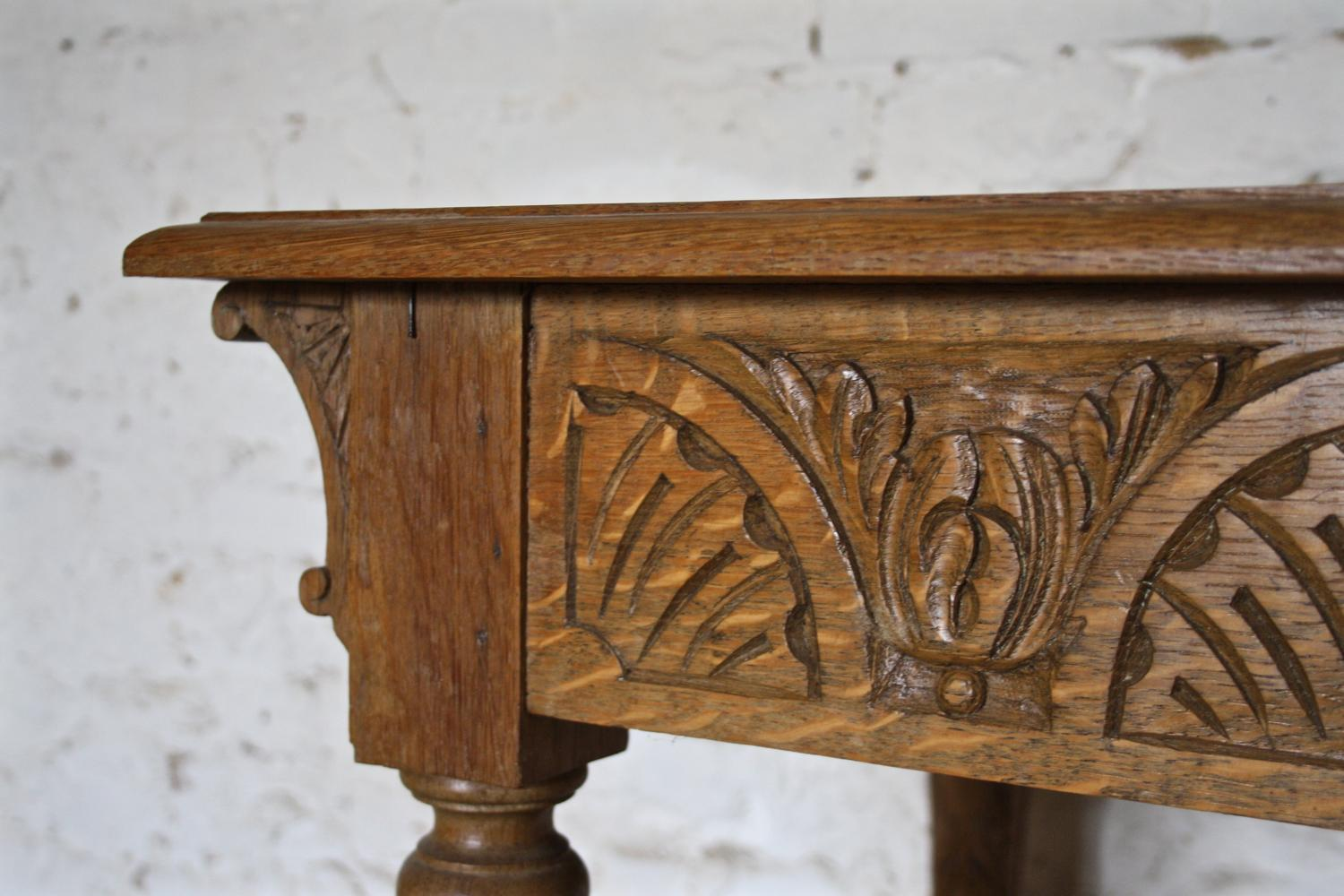 1930's carved oak side table
