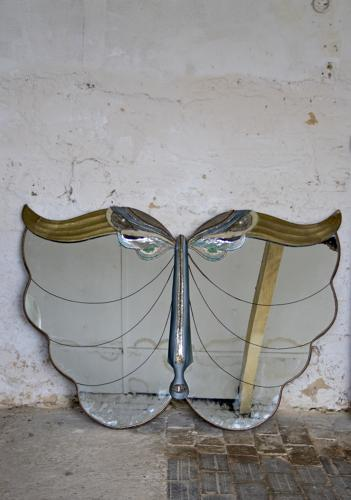 Rare 1950s butterfly mirror