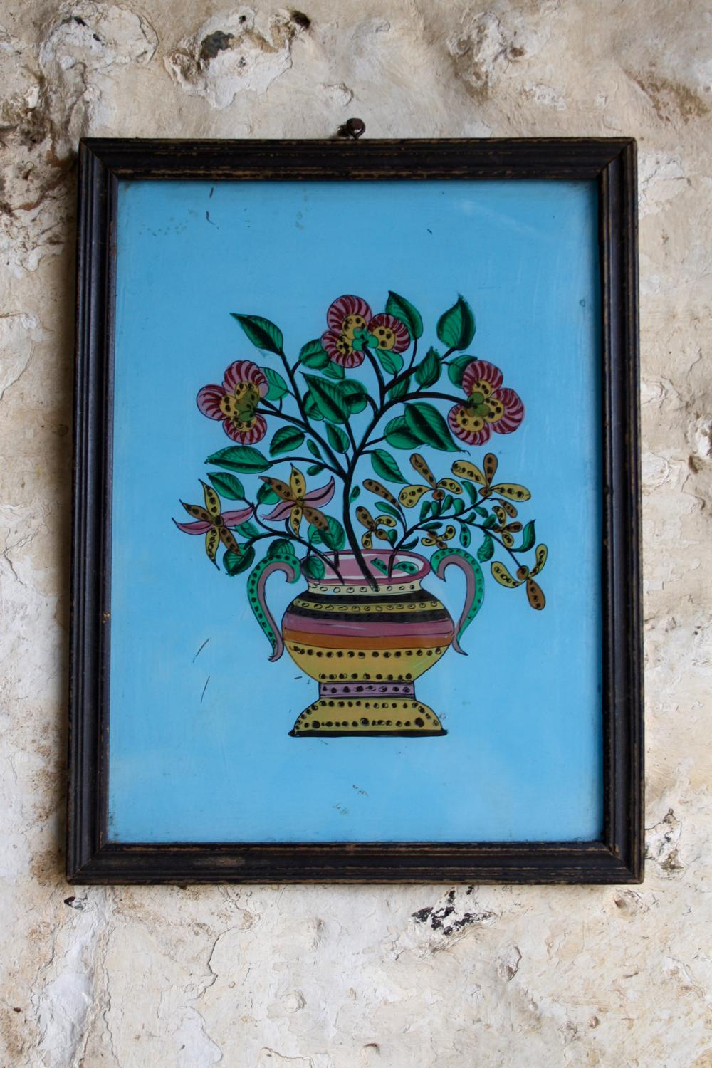 Indian glass painting - flowers