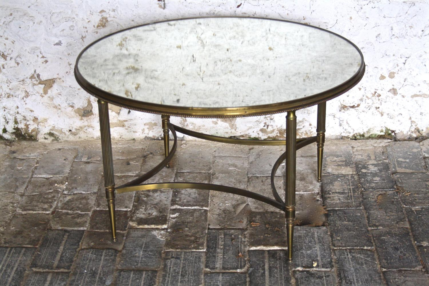 Mid century mirror topped brass table