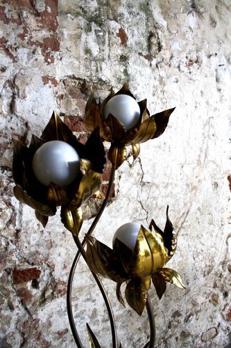 1970s brass flower floor lamp