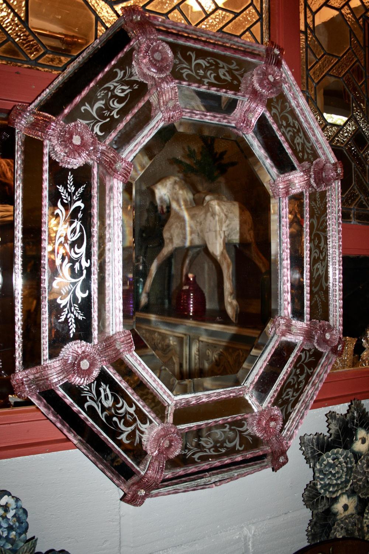 1920s pink Venetian mirror
