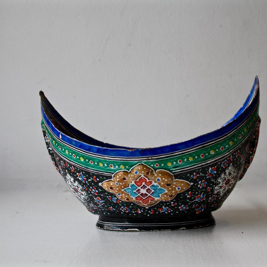 1950s enamelled begging bowl from Tehran