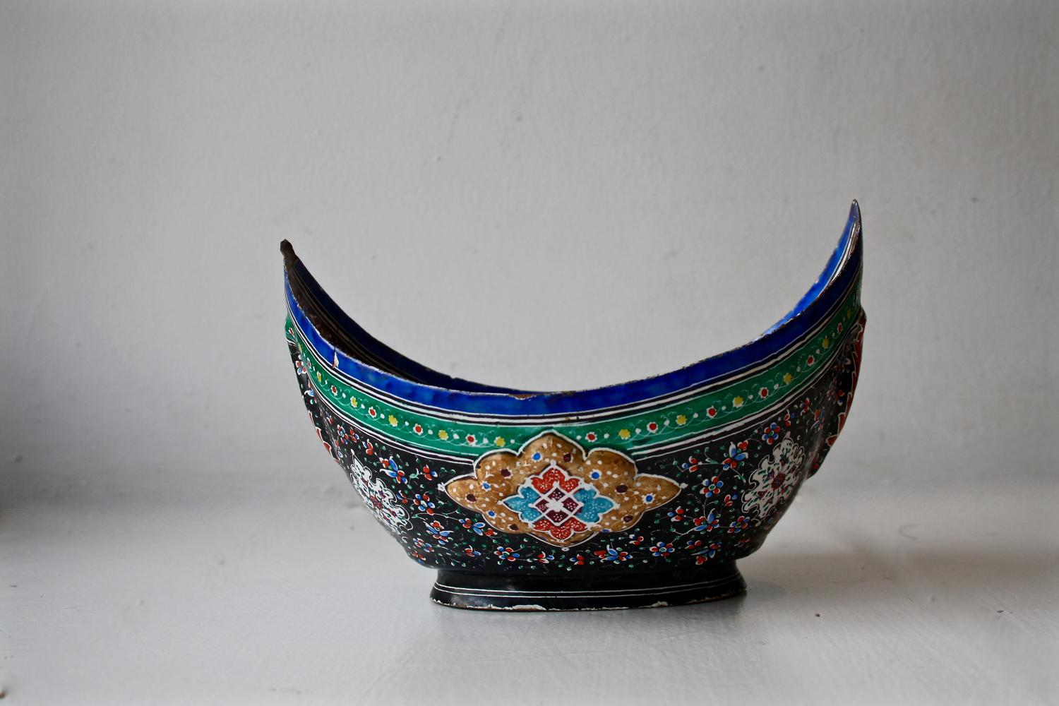 1950s enamelled begging bowl from Tehran