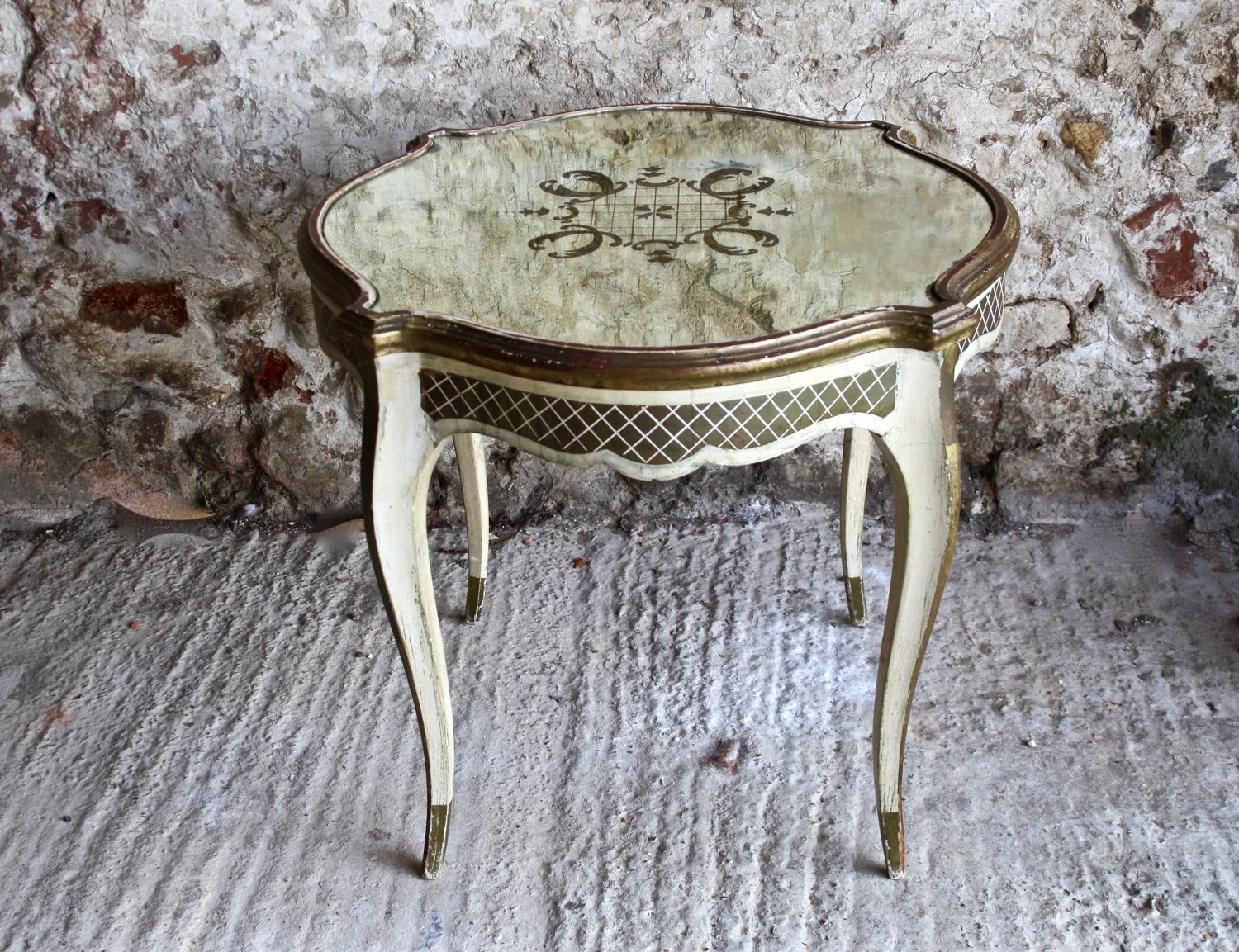 Small French mirror topped coffee table
