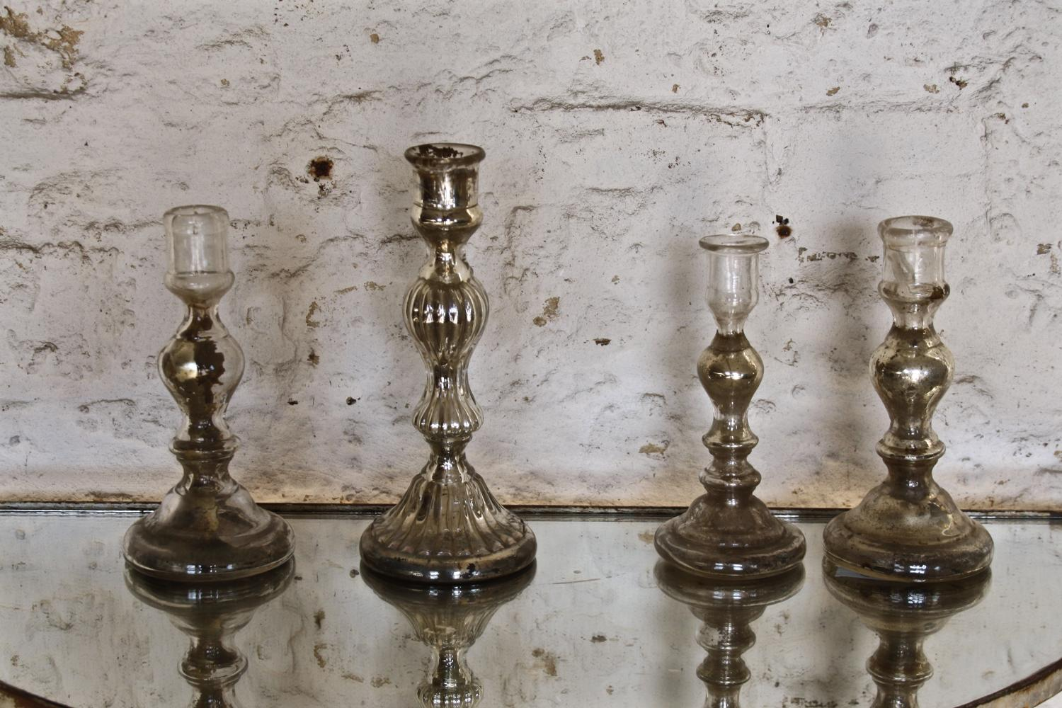 Various mercury glass candlesticks