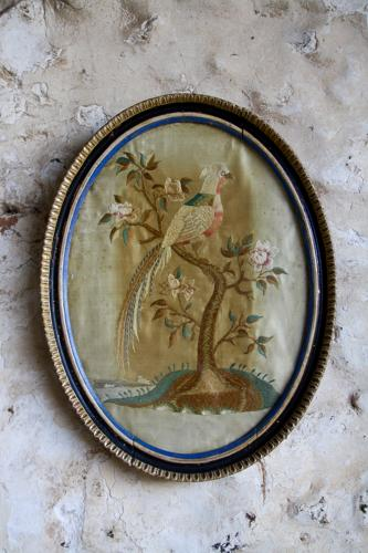 Oval framed Regency pheasant embroidery