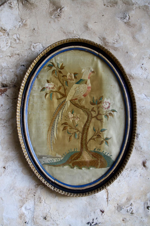 Oval framed Regency pheasant embroidery