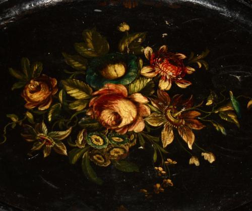 Papier maché floral oval tray