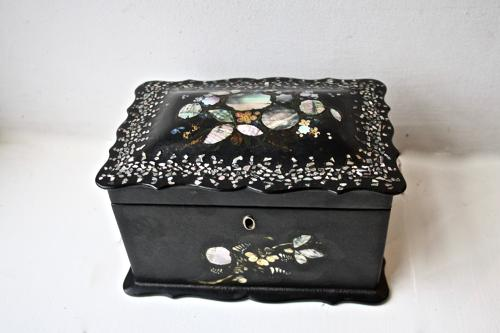 19th century mother of pearl inlaid tea caddy