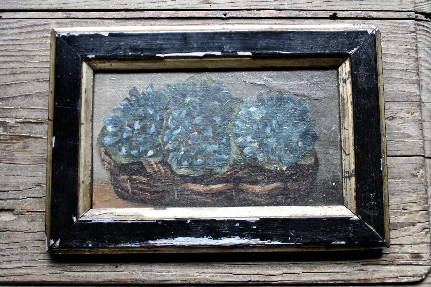 Small floral oil painting in frame