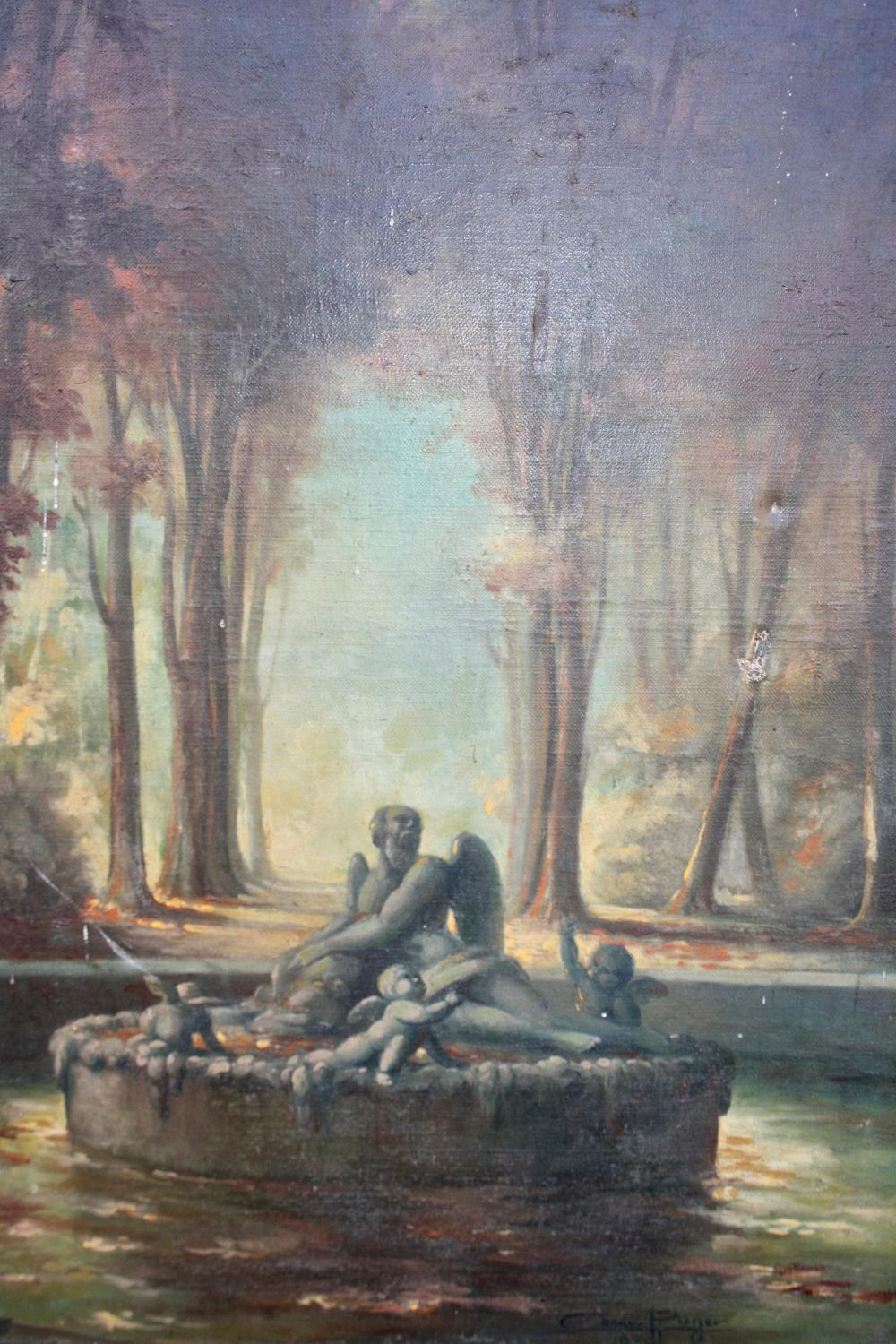 French oil painting of a fountain