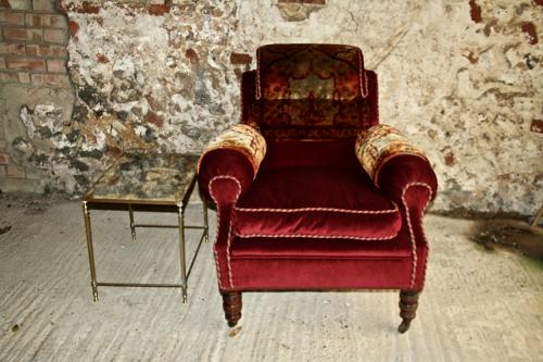 19th century velvet and carpet armchair