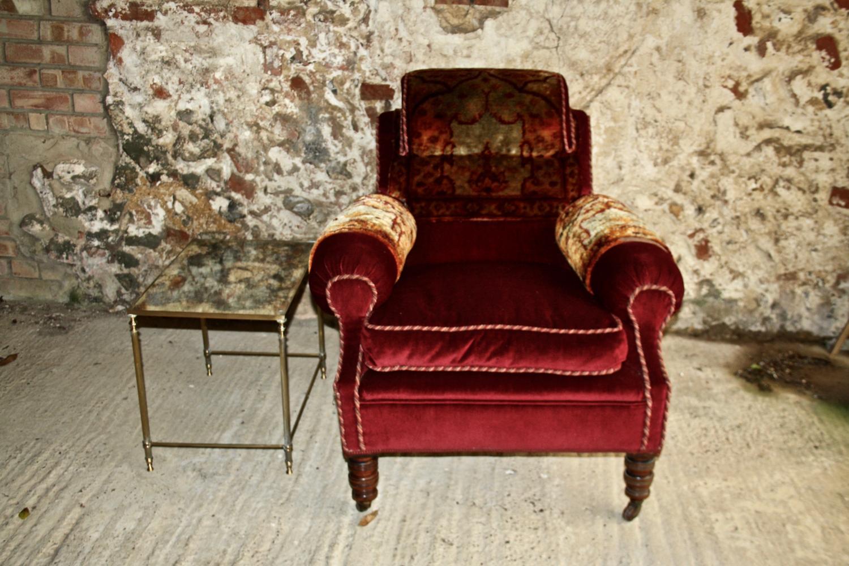 19th century velvet and carpet armchair