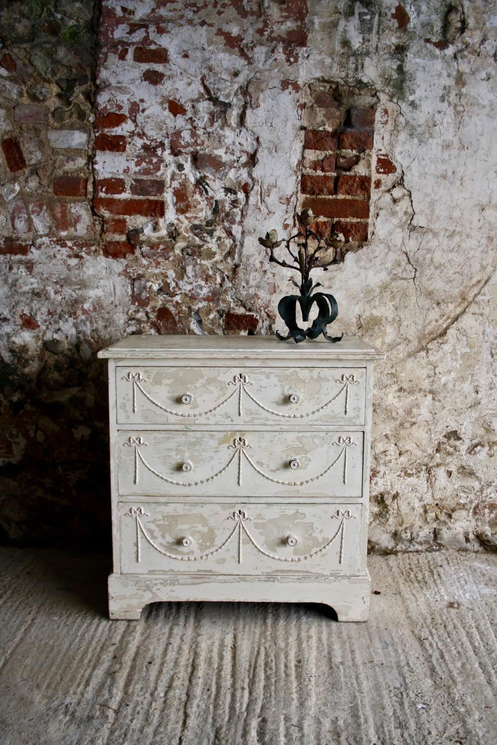 1930s white painted chest of three drawers