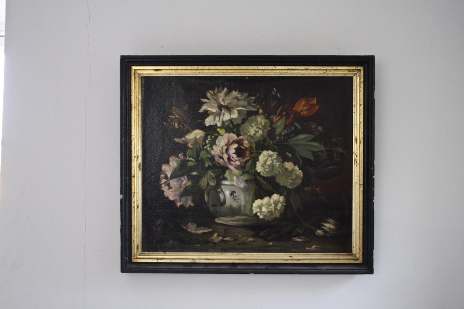 French 19th century floral oil painting in frame