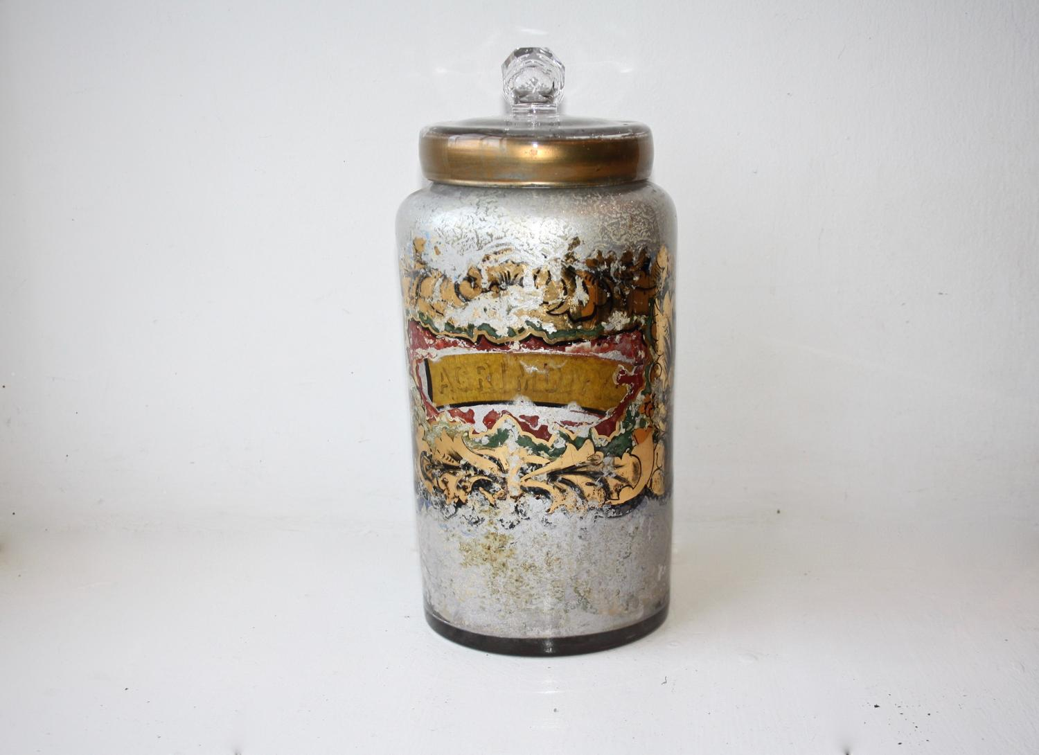 Small 'agrimony' apothecary bottle/jar