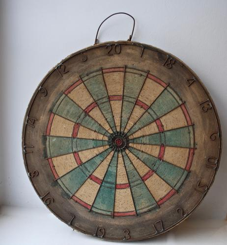 Old Wooden and Cork Dart Board