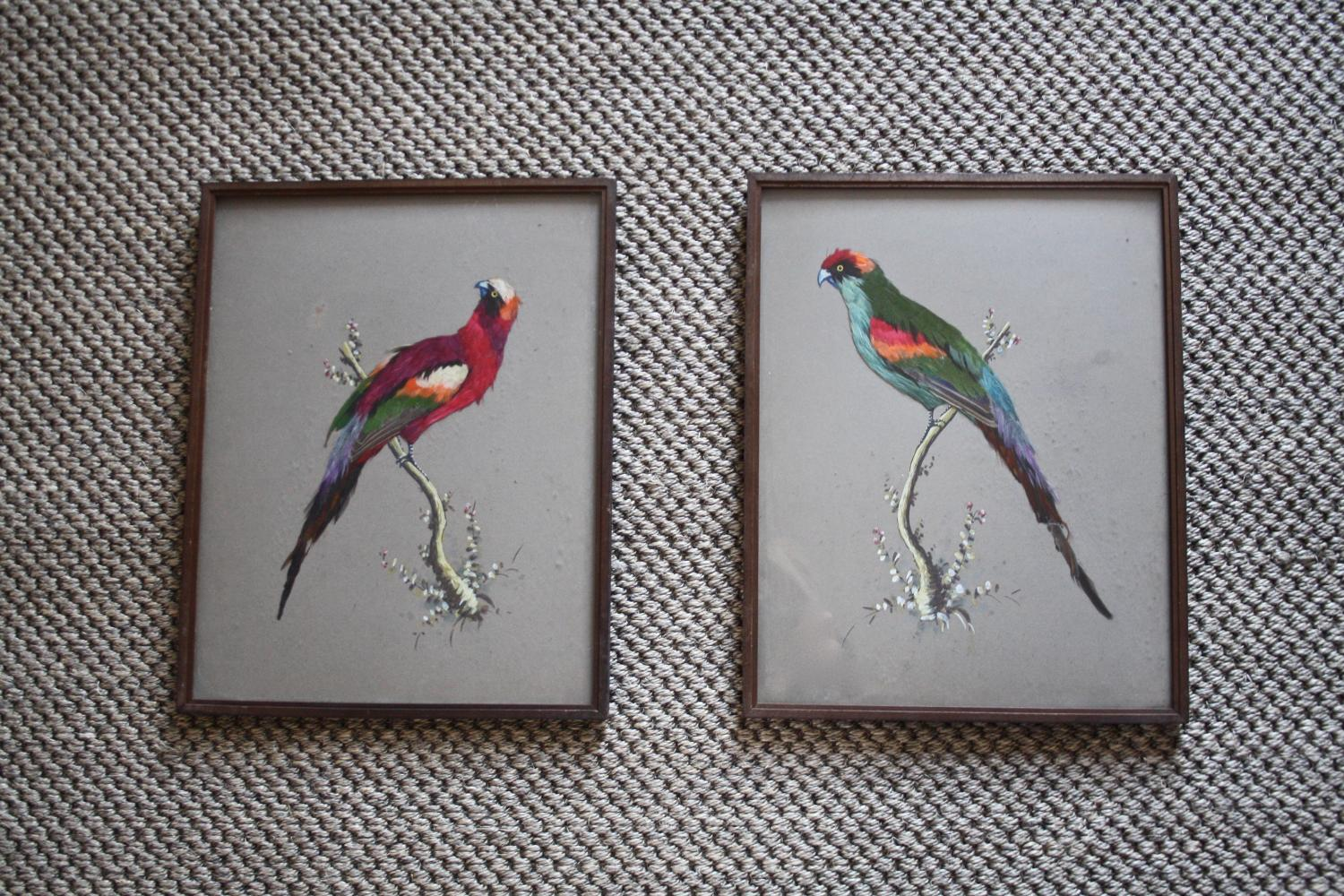 Pair of handpainted and feather bird pictures