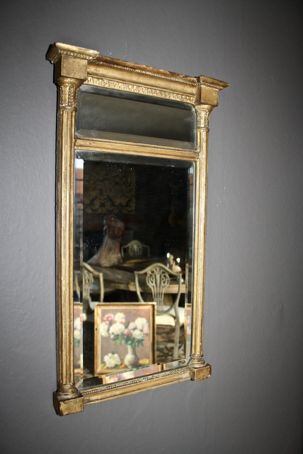 19th century giltwood mirror with bevilled glass