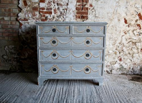 19th century painted chest of two over three drawers