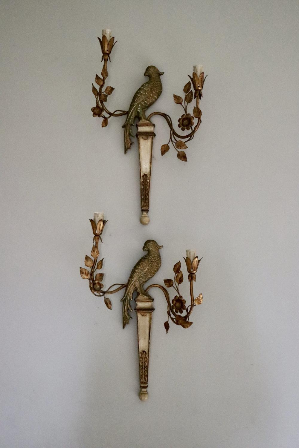 Pair of Italian parrot wall sconces