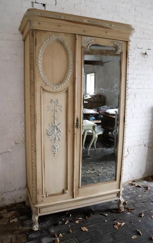 Late 19th century pine and gesso mirrored armoire