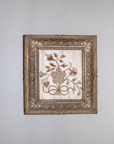 19th century framed floral silk embroidery