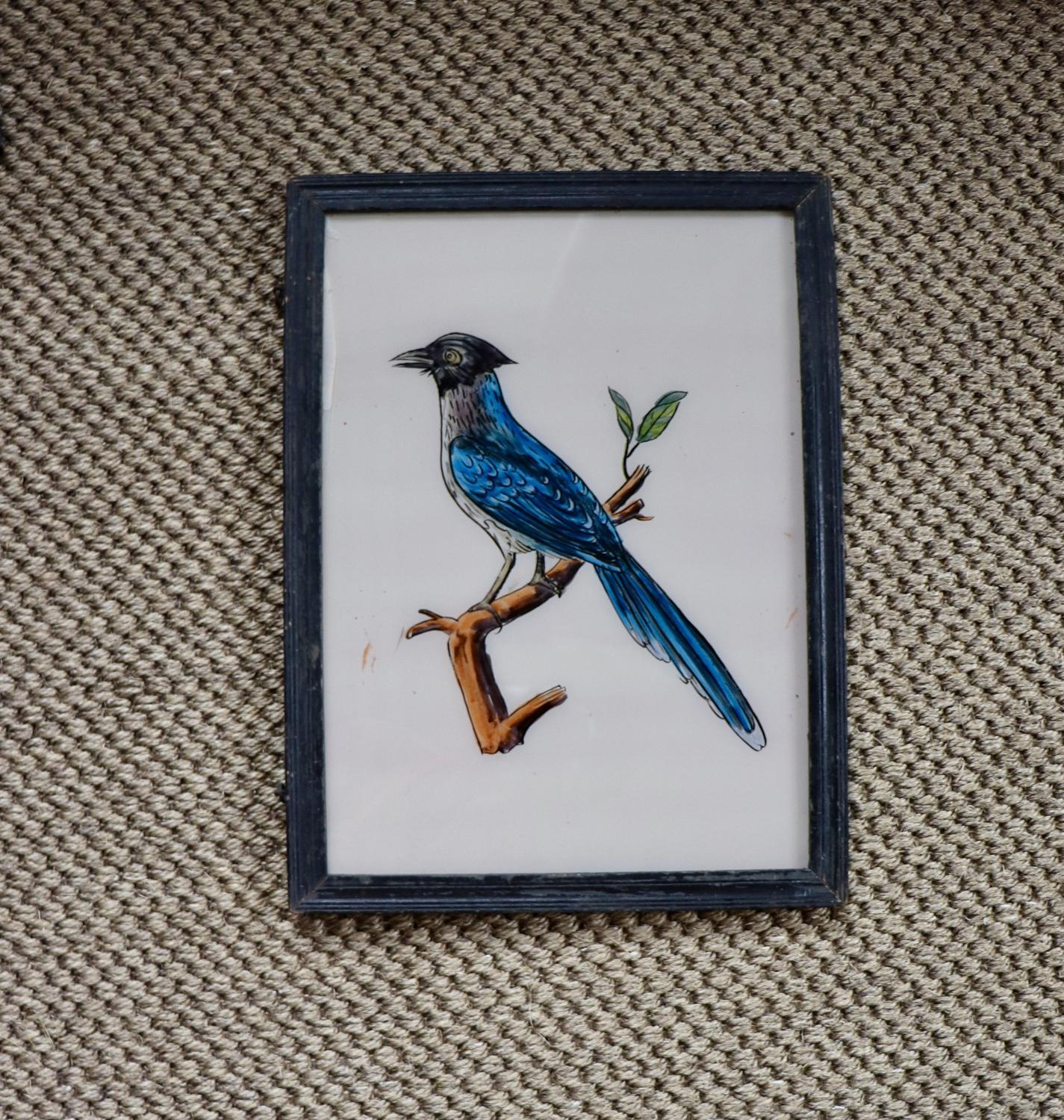 Reverse glass painted Indian picture of bird
