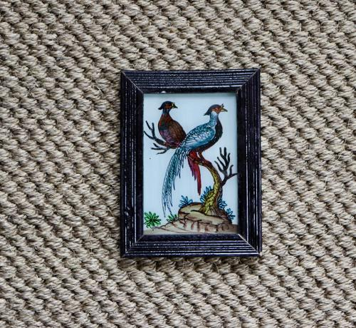 Reverse glass painted Indian pictures of bird and flowers