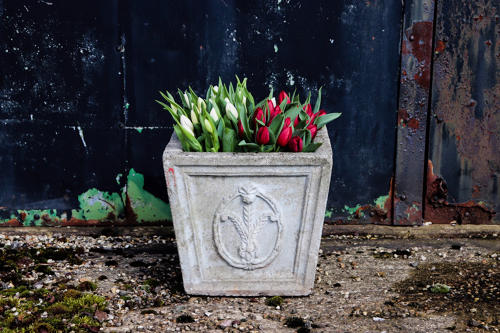 Prince of Wales feather square urn