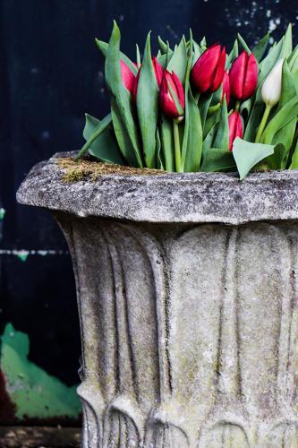 Tulip urn on stand