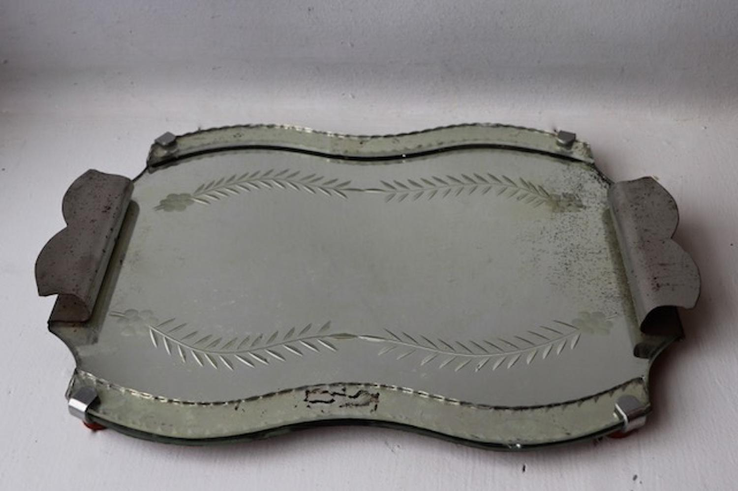 1970s mirrored tray