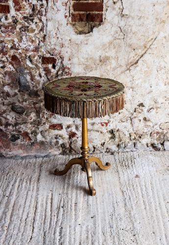 Early 20th century gypsy table with tapestry top