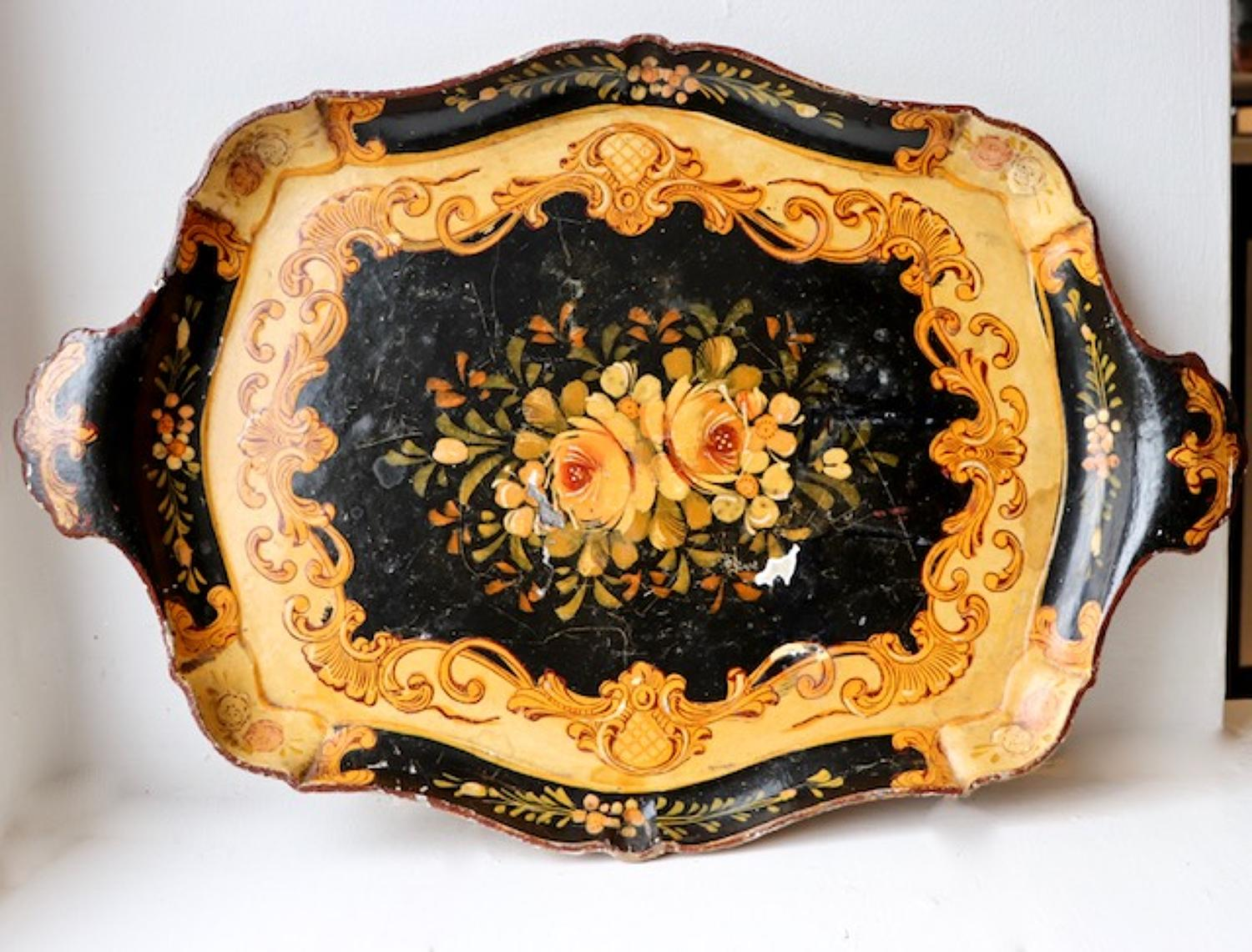 1920s papier maché painted tray