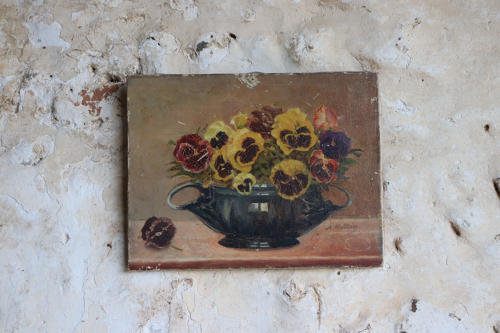 French oil painting of pansies