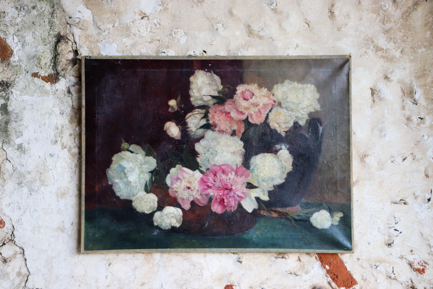 Large signed floral oil of flowers