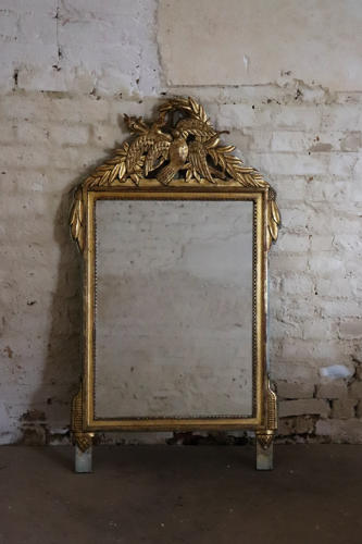 19th century gilt French mirror with birds