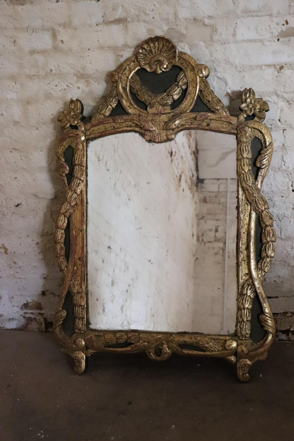 19th century painted and gilt mirror