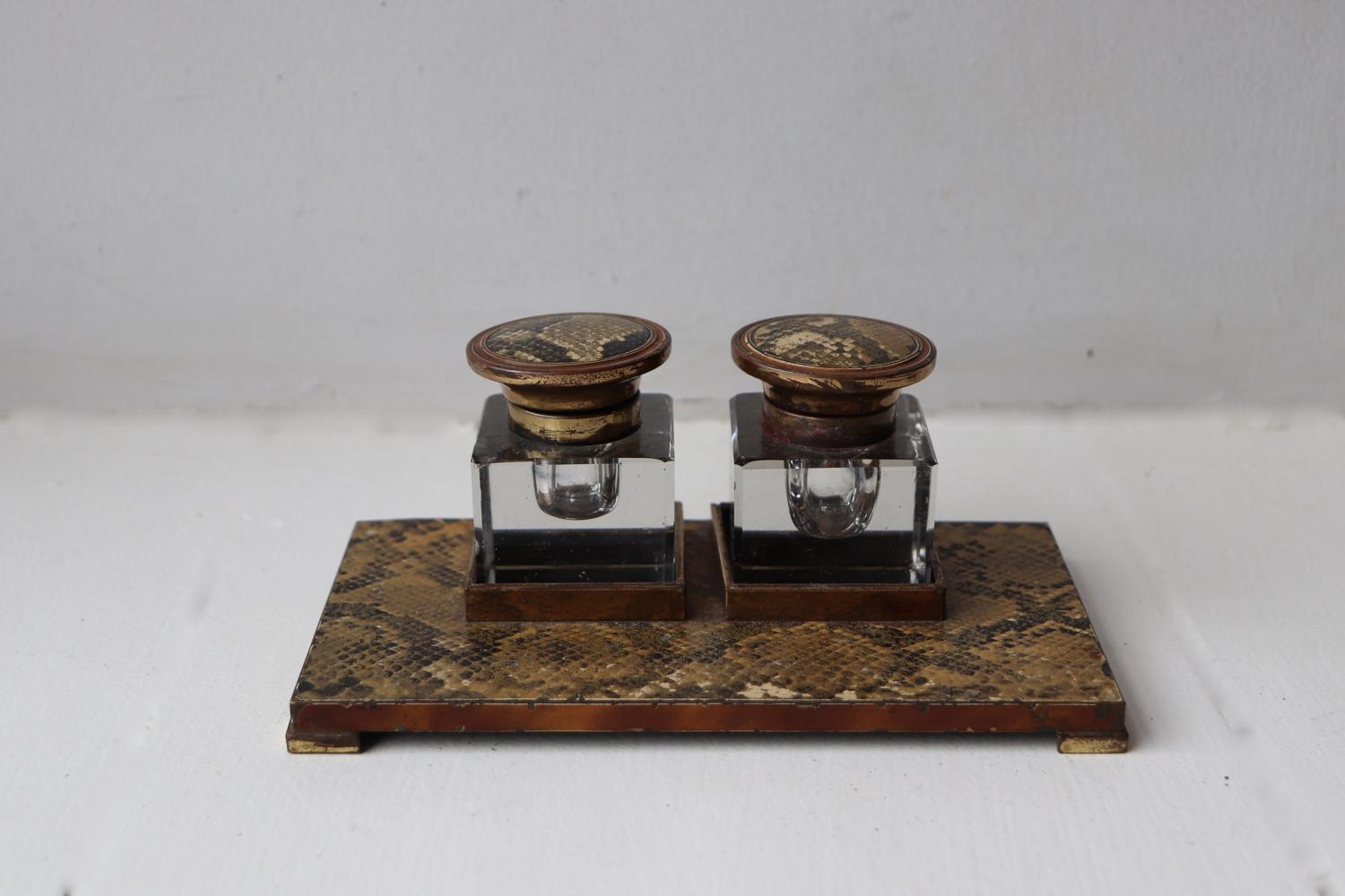 Art Deco snakeskin inkwell stand