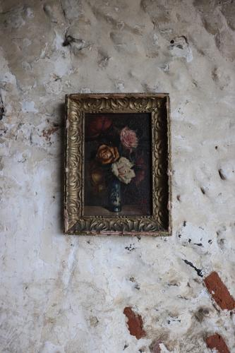 French framed oil painting of roses