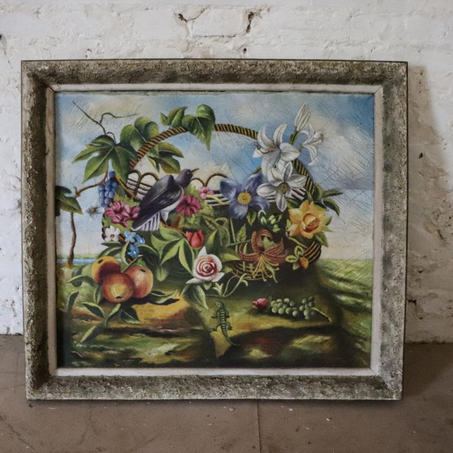Signed and framed painting of birds and flowers