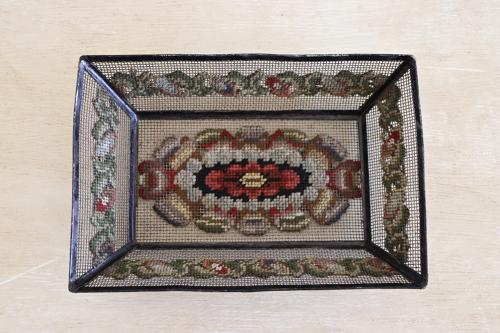 Victorian wire tray with needlework decoration