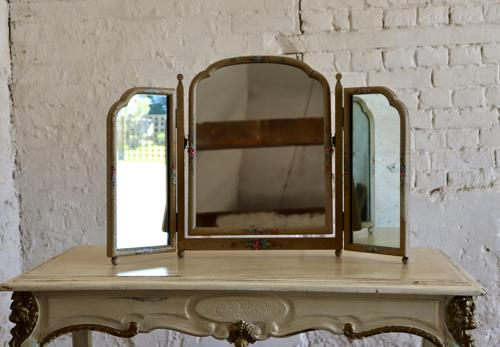 1930s handpainted triple dressing table mirror