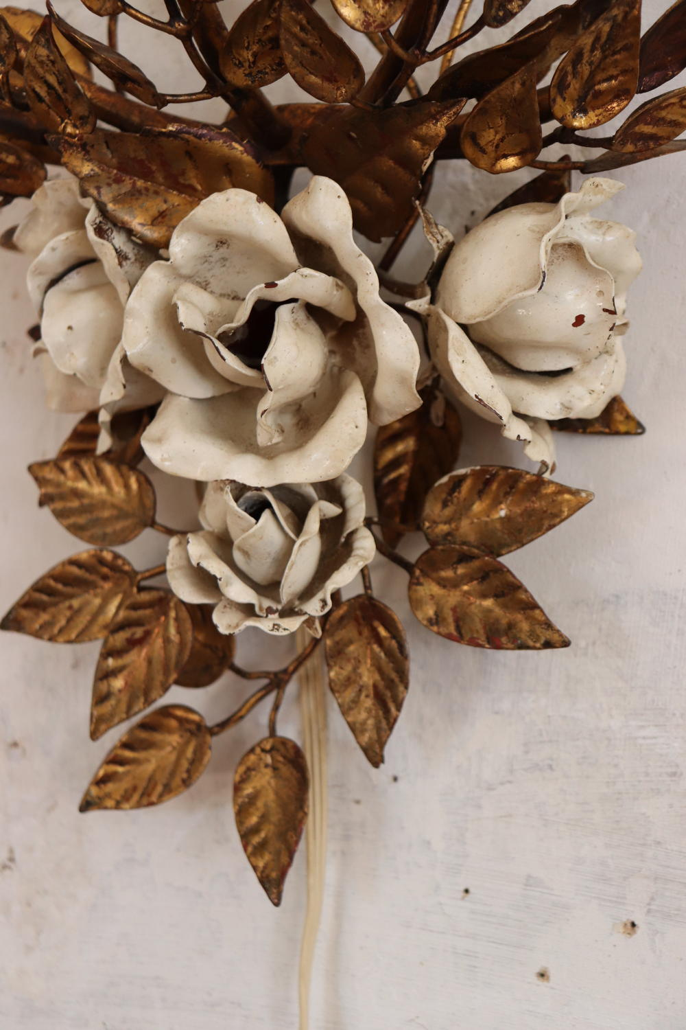 Mid century gilt sconce with roses