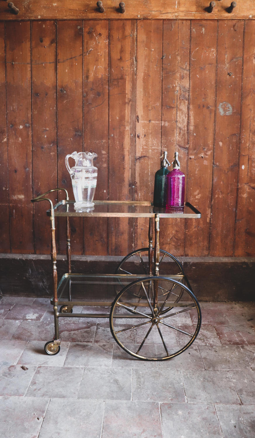 1960s brass and wooden drinks trolley
