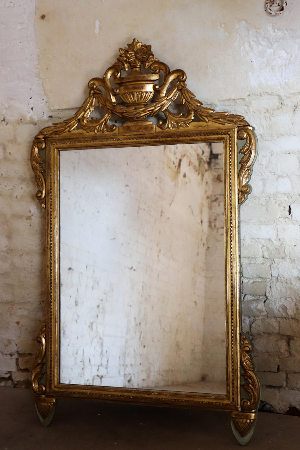 Large French gilt and painted 19th century mirror