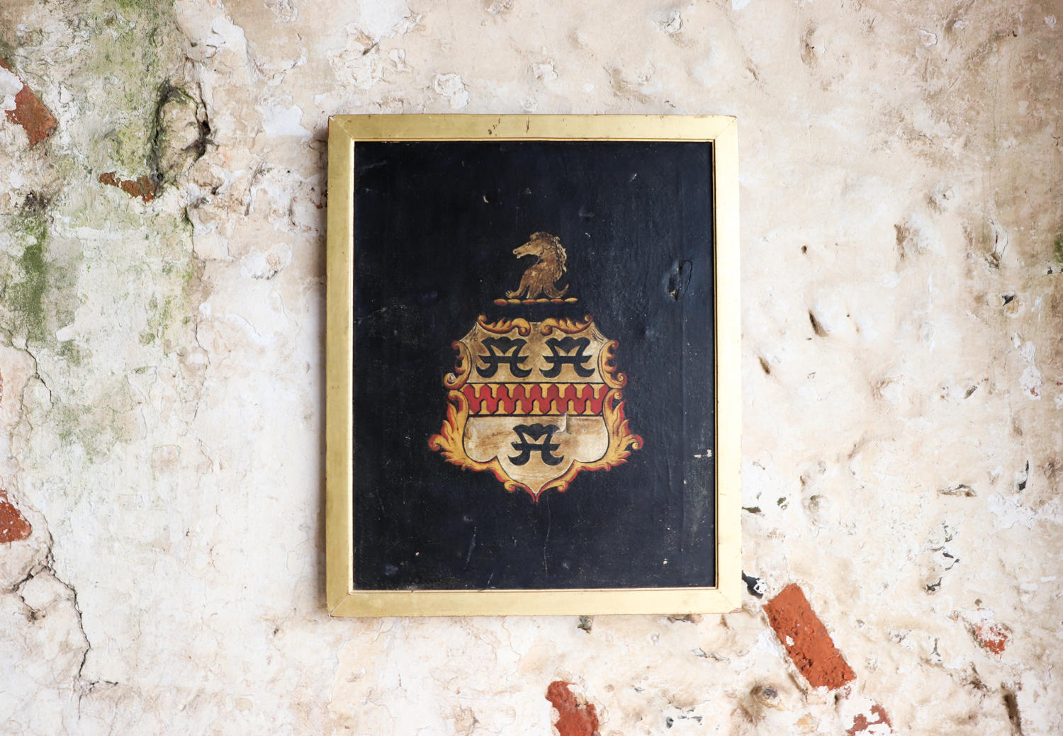 19th century framed crest on canvas